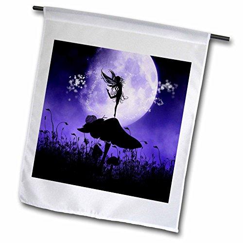 3dRose fl_201070_1 A Fairy Dancing on a Mushroom Purple Black Fair...