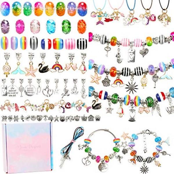 100 Pieces Charm Bracelet Making Kit Including Jewelry Beads Snake...
