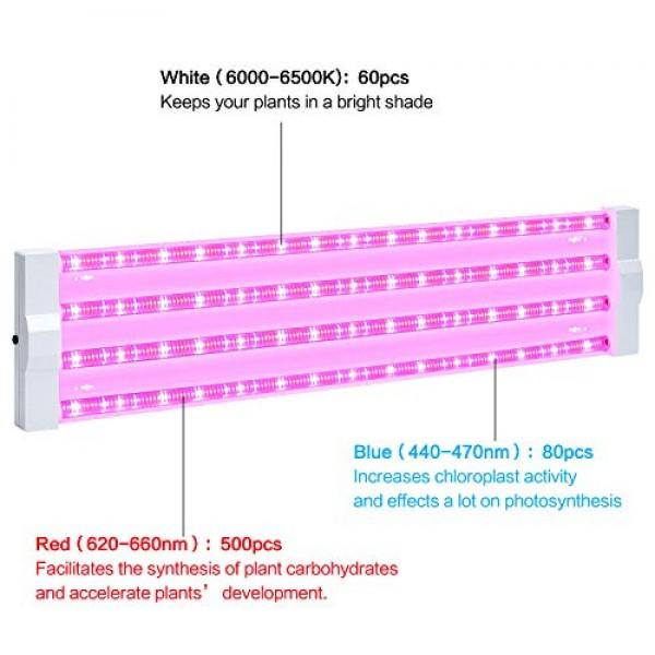 ANTLUX 4ft LED Grow Light 80W 600W Equivalent Full Spectrum Inte...