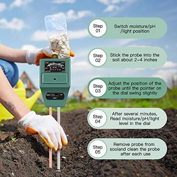 Soil Moisture Sunlight Ph Test Meter,Soil Tester Meter, 3-in-1 Tes...
