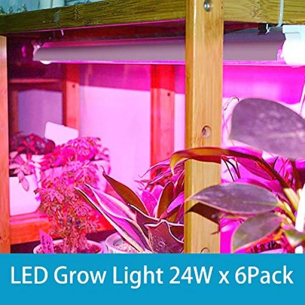 Barrina LED Grow Light, 144W6 x 24W, 800W Equivalent, 2ft T8, Fu...