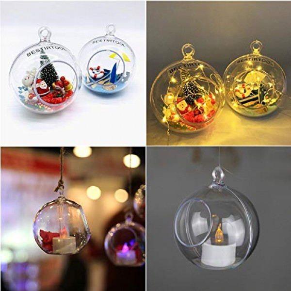 15-Pack Acrylic Hanging Globe, Plastic Hanging Ball, Air Plant and...