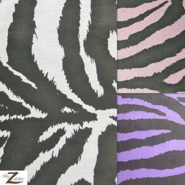 White Zebra Print Poly Cotton Fabric 58/59 Width Sold by The Yar...