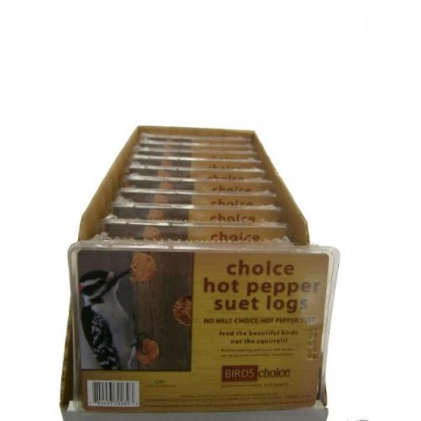 Birds Choice Hot Pepper Suet Logs 3oz.-4-Pack, Case of 12