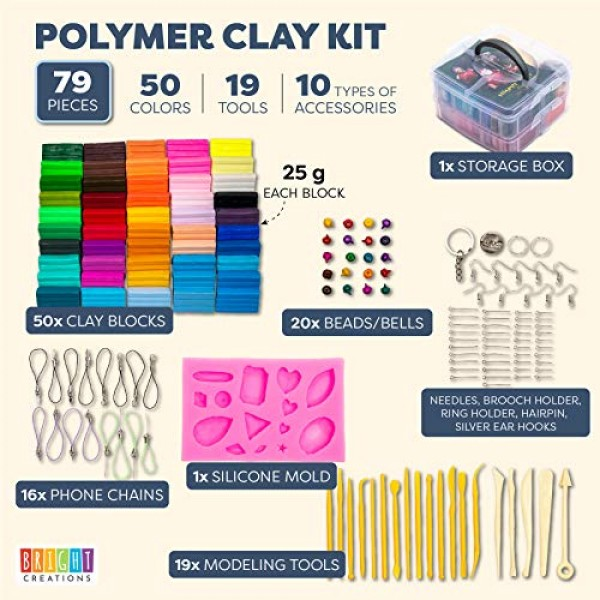 50 Colors Polymer Clay Starter Kit, Oven Bake Modeling Clay, 19 Sc...