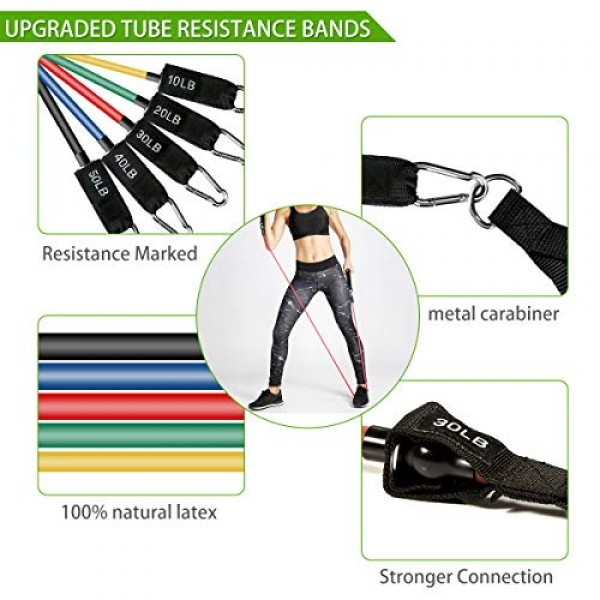 23 Pack Resistance Bands Set Workout Bands, 5 Stackable Exercise B...