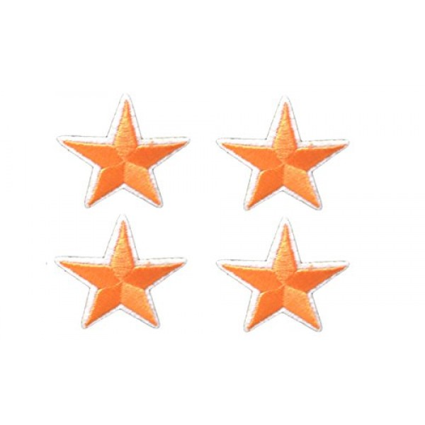 4 small pieces ORANGE STAR Iron On Patch Applique Motif Fabric Chi...