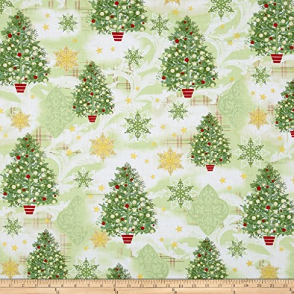 1 Yard - Holiday Magic Christmas Trees Cotton Fabric Great for ...