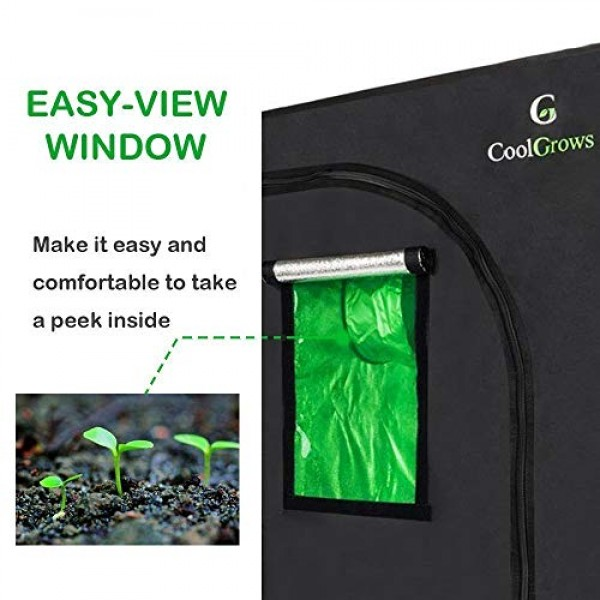 96x48x80Mylar Hydroponic Grow Tent with Obeservation Window and...
