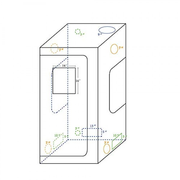 CoolGrows 36x36x72 Mylar Hydroponic Grow Tent with Window for I...