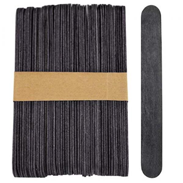 100 Sticks - Jumbo Wood Craft Popsicle Sticks 6 Inch Black