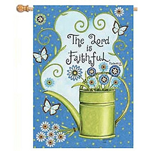 9998FL - Lord Is Faithful Watering Can Flowers Large Flag
