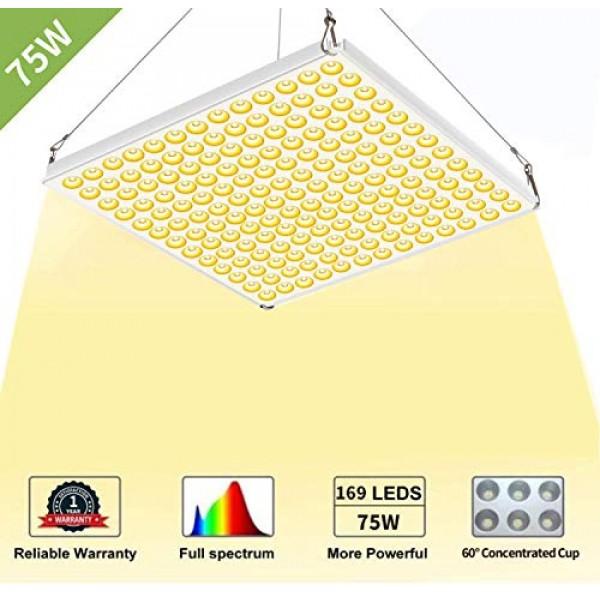CXhome LED Grow Light, 75W Full Spectrum 3500K Sunlike Plant Light...