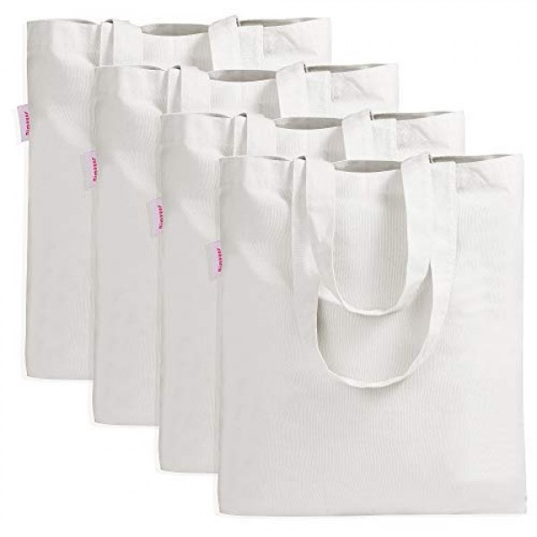 4 Pieces Crafting Bag for Decorating Grocery Canvas Bag White
