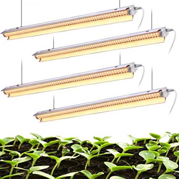 EAMATE White Light Full Spectrum LED Grow Light, 2-Row V-Shape T8 ...