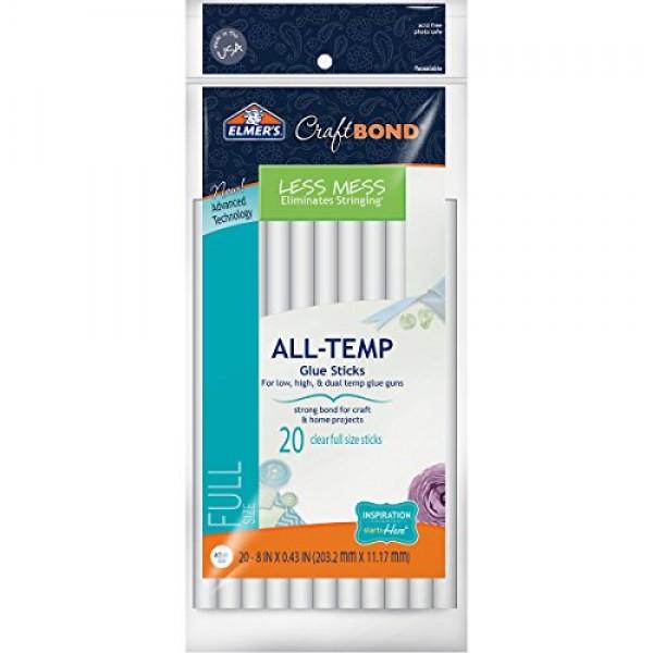 Elmers Craft Bond Less Mess All-Temp Glue Sticks, 8x0 43, 20 Co