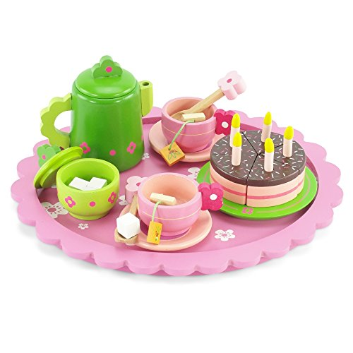 18 Inch Doll Wooden Tea Set (28 Pieces) | Cake Play Dessert Food P...
