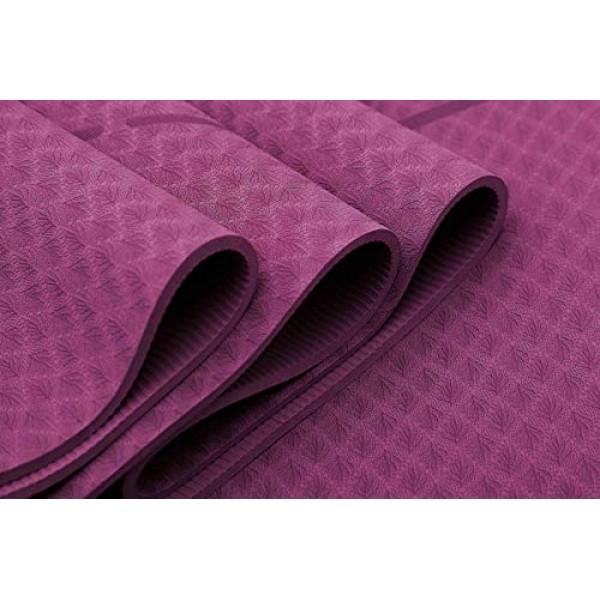 Ewedoos Eco Friendly Yoga Mat with Alignment Lines, TPE Yoga Mat N...