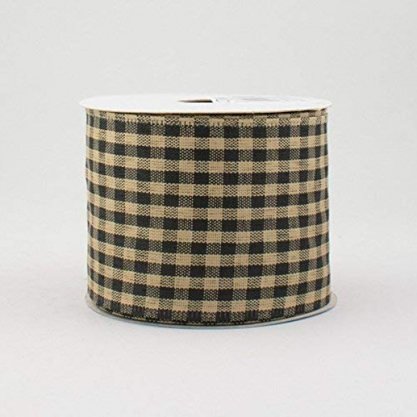 2.5 Wide Expressions Primitive Gingham Check Wired Ribbon Black &...