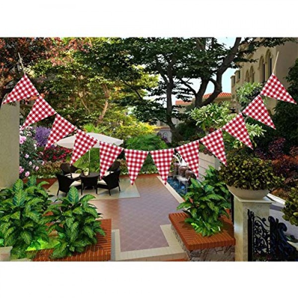 2 Pack Red and White Checkered Triangle Banner Red and Black Gingh...