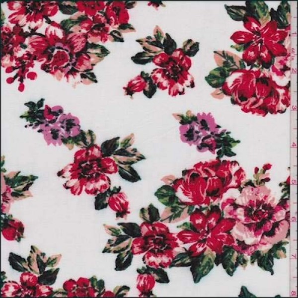 White/Blush/Red Floral Rayon Challis, Fabric by The Yard