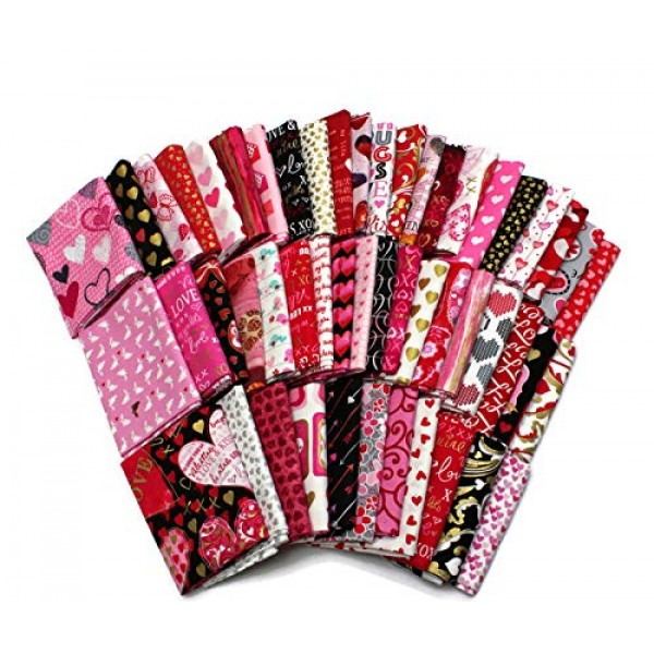 10 Fat Quarters - Valentines Day Hearts Love Sweetheart Pink Red ...