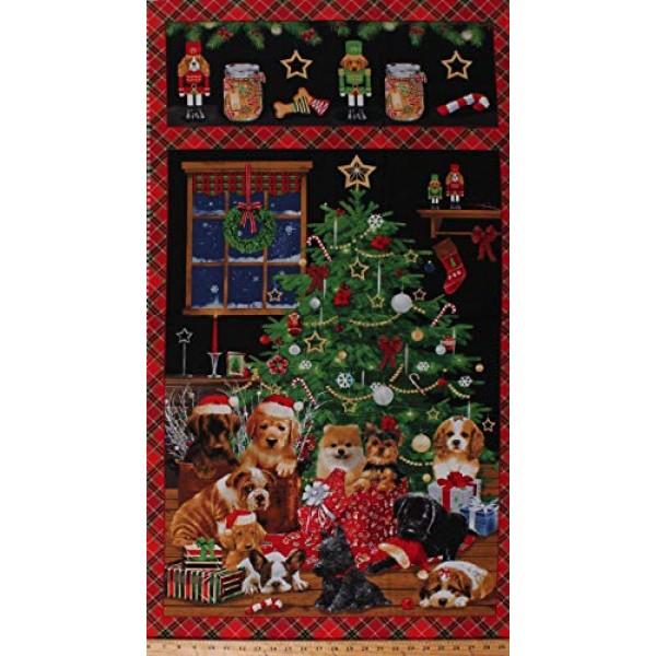24.25 X 43 Panel Fireside Pups Dogs Winter Christmas Puppies Chris...