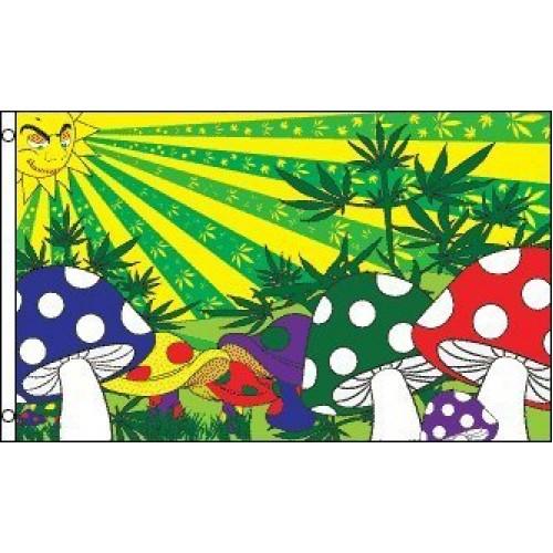 Mushroom Marijuana Flag 3x5 feet Polyester with 2 grommets