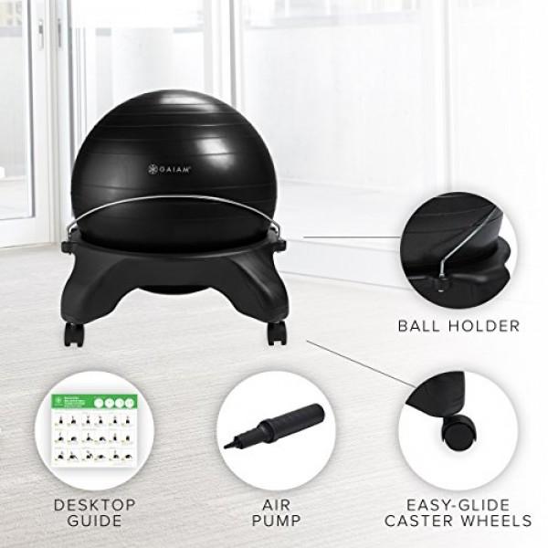 Gaiam Classic Backless Balance Ball Chair – Exercise Stability Yog...