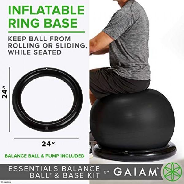 Gaiam Essentials Balance Ball & Base Kit, 65cm Yoga Ball Chair, Ex...