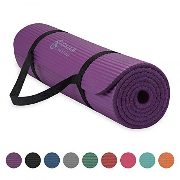 Gaiam Essentials Thick Yoga Mat Fitness & Exercise Mat with Easy-C...