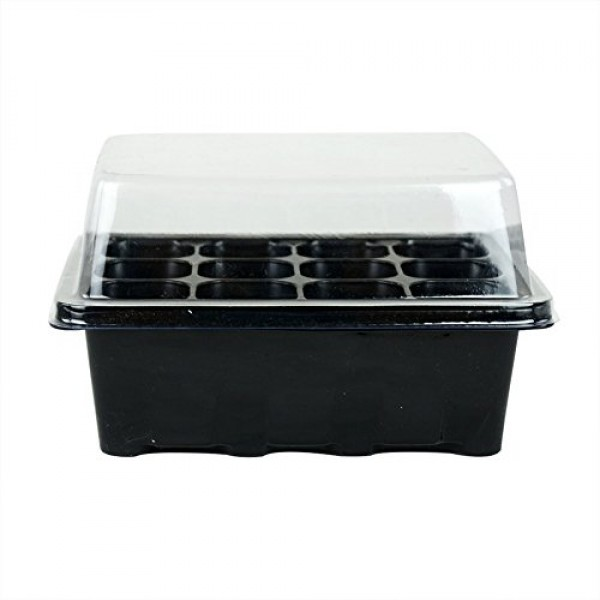3 Sets of Plant Seedling Starter 12 Nursery Pots Trays Box With Dome