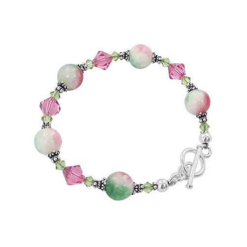 Gem Avenue Sterling Silver Pink & Green Gemstone with Swarovski El...