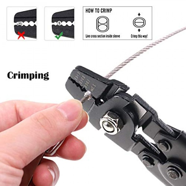 Wire Rope Crimper For Fishing Lines Up To 2.2mm W// 150Pcs double barrel ferrule