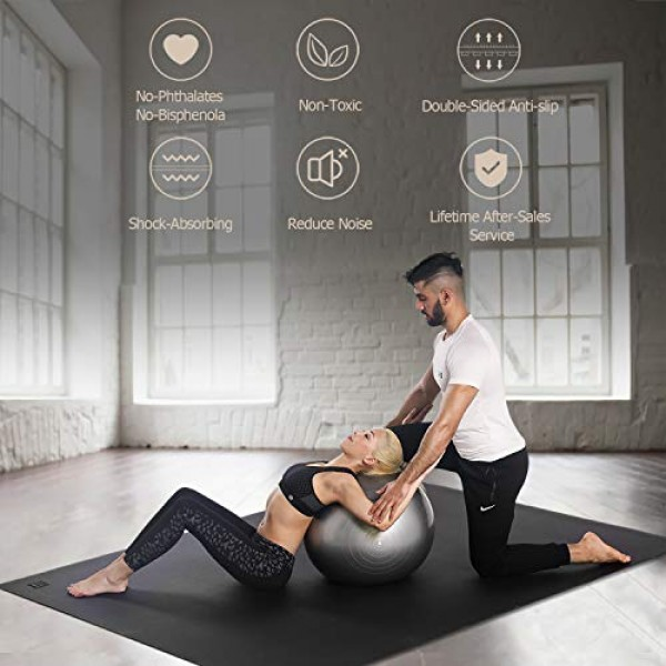 GXMMAT Extra Large Yoga Mat 10x6x7mm, Thick Workout Mats for Hom...