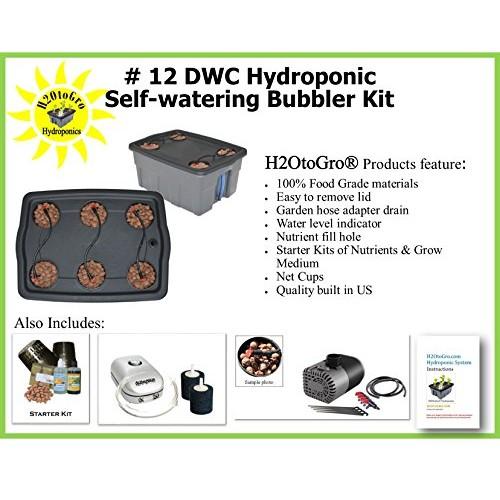 SELF-WATERING DWC Hydroponic Bubbler ~ # 12 6 Site by H2OtoGro
