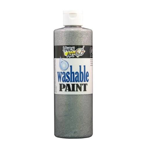 Handy Art Glitter Washable Paint 16 ounce, Silver