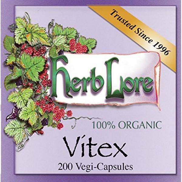 Herb Lore Organic Vitex Chaste Berry Capsules 200 Pills - Suppor...