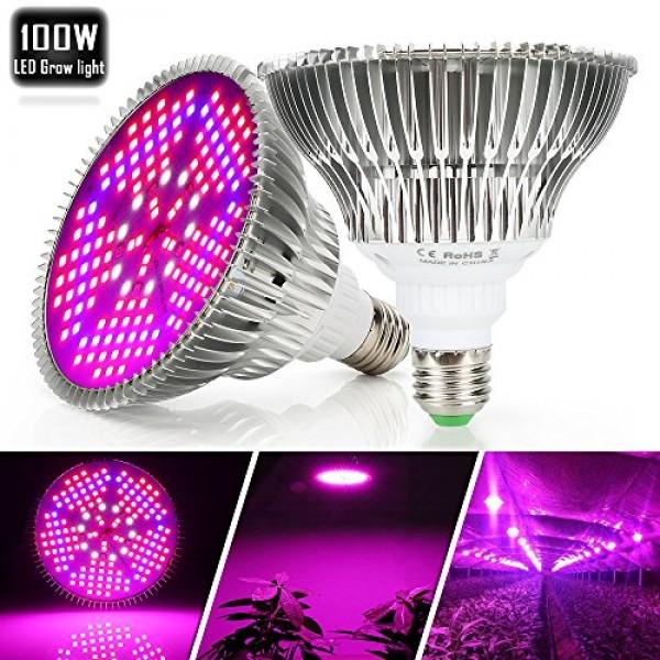 100W Led Grow Light Bulb Full Spectrum,Plant Light Bulb with 150 L...
