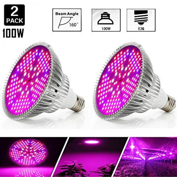 [Pack of 2]100W Led Plant Grow Light Bulb, Full Spectrum 150 LEDs ...