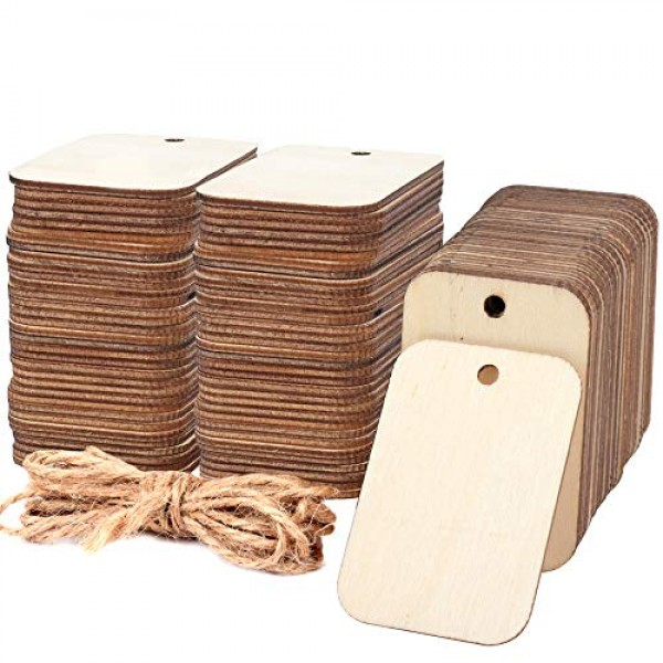 100 Pcs Unfinished Wood Pieces Rectangle-Shaped, Light Wooden Cuto...