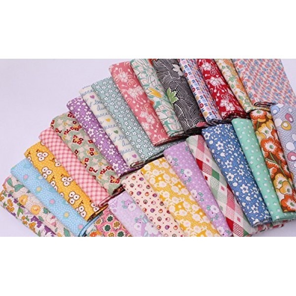 10 Fat Quarters - 1930s -1950s Reproduction Feed Sack Small Scal...