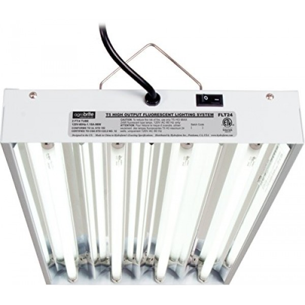 Hydrofarm Agrobrite FLT24 T5 Fluorescent Grow Light System, 2 Foot...