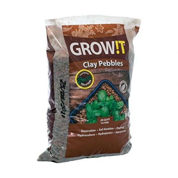 Hydrofarm GMC10L GROWT Clay Pebbles, 10 Liter Bag, Brown