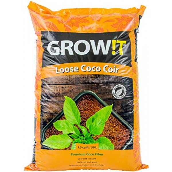 Hydrofarm JSCMIX15 GROWT Premium Coco Coir, Loose Cubic Foot Bag G...
