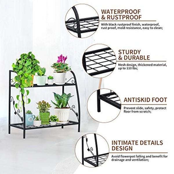 2-Tier Metal Plant Stand - Indefree Multiple Flower Pot Holder She...
