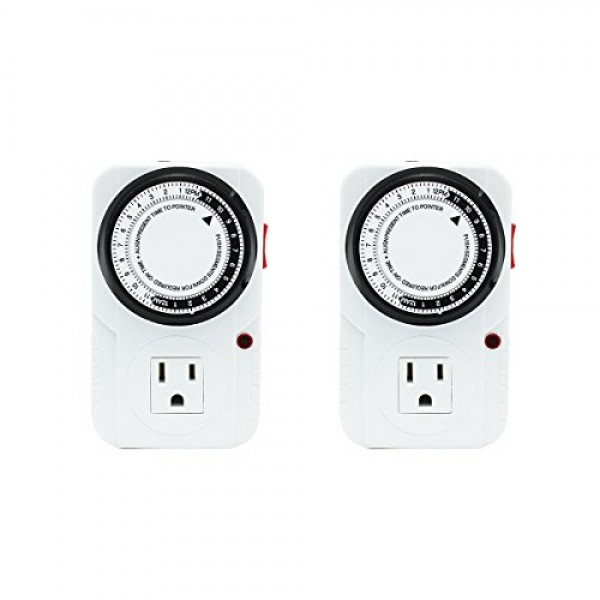 iPower 2-PACK 24 Hour Plug-in Mechanical Electric Outlet Timer, 15...