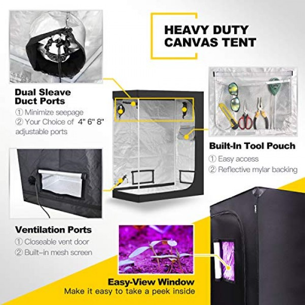 iPower 48x24x60 Hydroponic Water-Resistant Grow Tent with Remov...