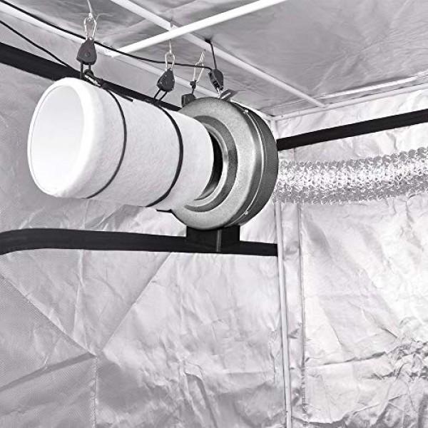 iPower GLFANXINL4FILT4MD8CTR 4 Inch 190 CFM Inline Fan Carbon Filt...