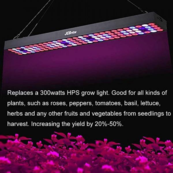 JCBritw LED Grow Light Panel 2ft Full Spectrum with UV IR 100W Pro...